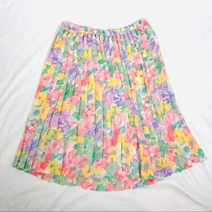 Vintage Alfred dunner floral pleated midi skirt